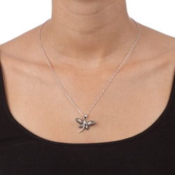 DB Designs Sterling Silver Black Diamond Accent Filigree Dragonfly Necklace - Thumbnail 2