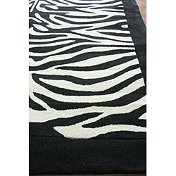 nuLOOM Hand-tufted Pino Collection Zebra Kids Black Rug (5' x 8') - Thumbnail 2