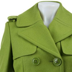 Miss Sixty Women's Double-breasted Wool Trench Coat - Thumbnail 2