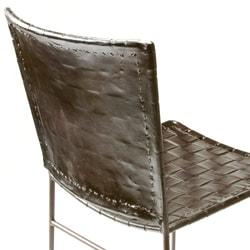Set of 2 Iron and Leather Barstools (India)