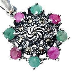 Sterling Silver Emerald and Ruby Pendant Necklace (Thailand) - Thumbnail 2