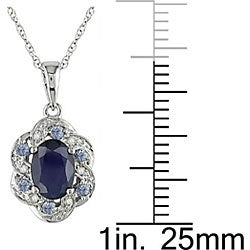 Miadora 10k White Gold Multicolor Sapphire Flower Necklace