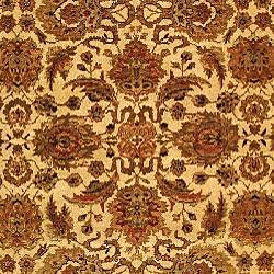 Heirloom Hand-knotted Hand-spun Wool Ivory/ Rust Rug (5' x 7'6) - Thumbnail 2