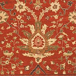 Hand-knotted Oushak Red/ Beige Wool Rug (9' x 12') - Thumbnail 2