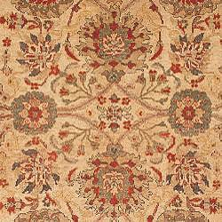 Oushak Hand-knotted Sarouk Beige/ Green Wool Rug (9' x 12') - Thumbnail 2