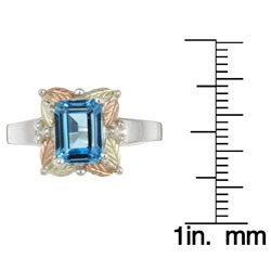 Silver and Black Hills Gold Blue Topaz Ring