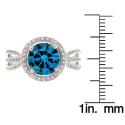 14k Gold 2 2/5ct TDW Blue Diamond Halo Ring (G-H, SI1-I1) (Size 7) - Thumbnail 2
