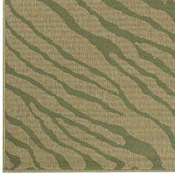 Meticulously Woven Green/Beige Zebra Cafe Animal Print Rug (7'6 x 10'6) - Thumbnail 2