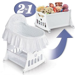 Portable 2-in-1 Bassinet and Cradle with Toy Box Base - Thumbnail 2