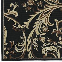 Cafe Black/Brown/Tan Floral Indoor/Outdoor Rug (5'3 x 7'6)