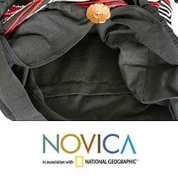 'Violet Art' Cotton Shoulder Bag (Thailand) - Thumbnail 2