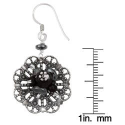 Sterling Silver Onyx and Hematite Filigree Flower Earrings - Thumbnail 2