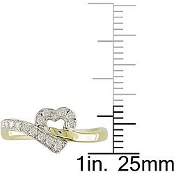 10k Two-tone Gold 1/6ct TDW Diamond Heart Ring - Thumbnail 2