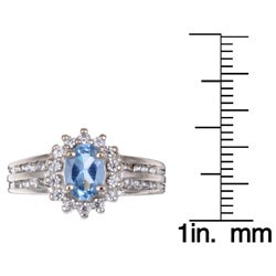 Sterling Silver Oval Light Blue Cubic Zirconia Ring - Thumbnail 2