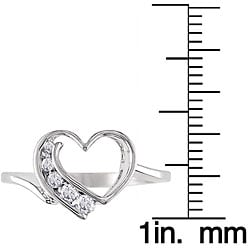Miadora 10k White Gold 1/6ct TDW Diamond Heart Ring - Thumbnail 2