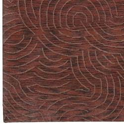 Hand-knotted Burgundy Royal Abstract Design Wool Rug (2 '6 x 10')