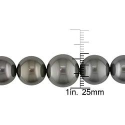 Miadora 14k Gold Black Tahitian Pearl/ Diamond Necklace (11-15 mm) - Thumbnail 2