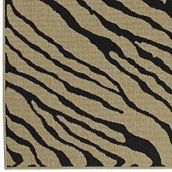Shop Cafe Black Tan Zebra Print Indoor Outdoor Rug 2 3 X