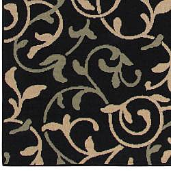 Cafe Collection Floral Indoor/Outdoor Rug (8'9 x 12'9) - Thumbnail 2