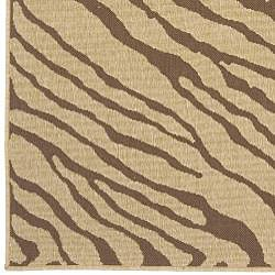 Cafe Zebra Print Indoor/Outdoor Rug (7'3 Square) - Thumbnail 2