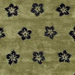 Safavieh Handmade Soho Leaves Sage New Zealand Wool Rug (8' Square) - Thumbnail 2