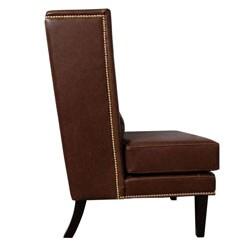 Malia Soft Dark Brown Leather Wingback Chair