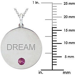 10k Gold June Birthstone Rhodolite Engraved 'DREAM' Designer Necklace