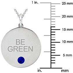 10k Gold September Birthstone Created Sapphire 'BE GREEN' Necklace - Thumbnail 2