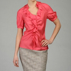 Lafayette 148 Women's Silk Habutai Ruffle Blouse - Thumbnail 2