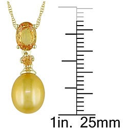 Miadora 10k Gold Yellow Pearl and Yellow Sapphire Necklace