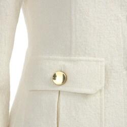 Women's Button-front Winter White Blazer - Thumbnail 2