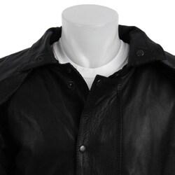 Dealer Leather Men's Black Leather Duster Coat