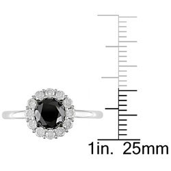 14k Gold 1 3/8ct TDW Black and White Diamond Ring - Thumbnail 2