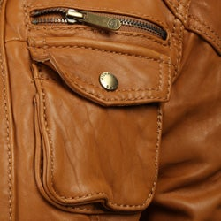 MICHAEL Michael Kors Women's Leather Zip Front Motocross Jacket - Thumbnail 2