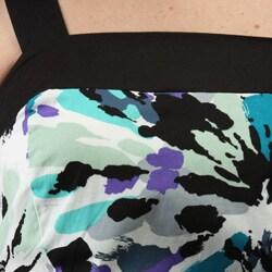Karin Stevens Women's Black/Purple Printed Sundress