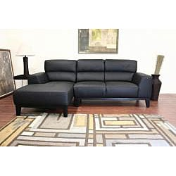 Theresa 2-piece Black Leather Sectional Sofa