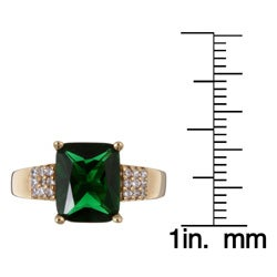 Sterling Essentials 14k Yellow Gold over Sterling Silver Green Cubic Zirconia Ring