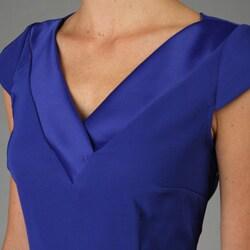 Connected Apparel Women's Double V-neck Dress - Thumbnail 2