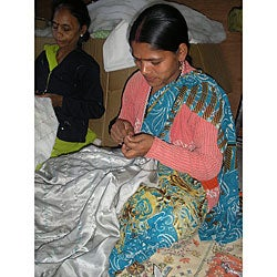 Maharani Women's Long-sleeved Orange Silk Jacket (India) - Thumbnail 2