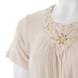 Nicole Ricci Women's Short-sleeve Beaded Knit Top - Thumbnail 2