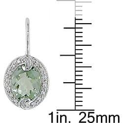 10k Gold Green Amethyst and 1/8ct TDW Diamond Earrings (H-I, I2-I3) - Thumbnail 2