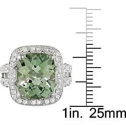18k Gold Green Amethyst and 1ct TDW Diamond Ring (G-H, SI1) - Thumbnail 2