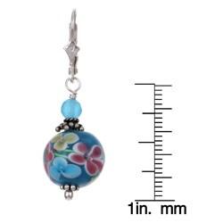 Lola's Jewelry Sterling Silver Flower Power Blue Art Glass Earrings - Thumbnail 2