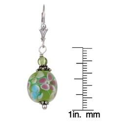 Lola's Jewelry Silver Flower Power Green Art Glass Earrings - Thumbnail 2