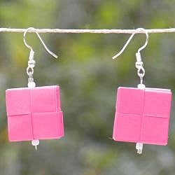 Two Squares Folded Paper Hook Earrings (Chile) - Thumbnail 2
