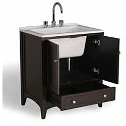 Drop In Laundry Sink For 24 Inch Cabinet : Manhattan White 30.5-inch All-in-One Laundry Single Vanity Sink