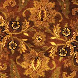 Safavieh Handmade Classic Jaipur Rust/ Black Wool Rug (6' Round) - Thumbnail 2