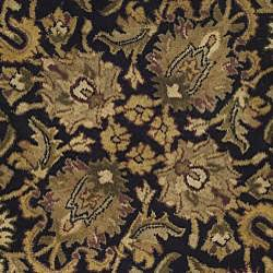 Safavieh Handmade Traditions Black/ Light Brown Wool Rug (3'6 Round) - Thumbnail 2