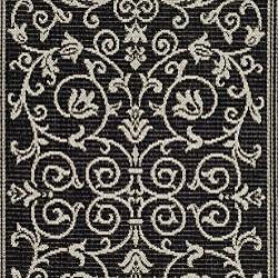 Safavieh Resorts Scrollwork Black/ Sand Indoor/ Outdoor Runner (2'4 x 6'7) - Thumbnail 2