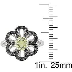 10k Gold Created Yellow Sapphire and 1/3ct TDW Black Diamond Ring